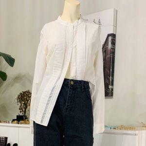 NWOT J. Crew collarless tuxedo shirt white dot 4